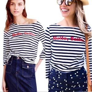 J. Crew Size XS Nautical Stripe Cotton Tee